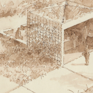 Grid arrangement for garden plots and paving; cube-shaped structure, upper center.