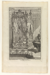 Plate 1. Design for bedroom and elaborately carved and draped bed which is decorated with flaming hearts and topped with a crown above an escutchen. The room contains a table upon which an ornamental sculpture and a candlestick stands. A low section of grill work is at lower left.