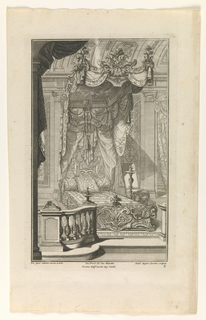 Plate 2. Design for a bedroom and bed in the à la Duchesse Style placed between a candlestick and a chair