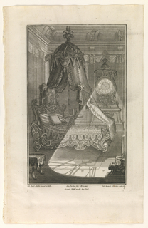 Plate 3. Design for bedroom and carved chaise longue with high headboard and with unsupported circular canopy suspended above. Large standing case clock in background whose face projects numerals across foreground.