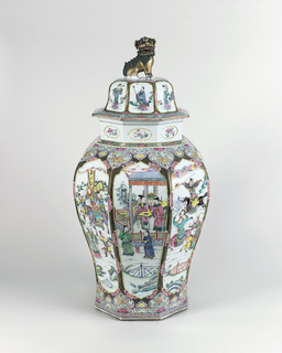 Octagonal jar and lid decorated with a fight scene in enamel; lid has matching decoration and dragon-form  handle.
