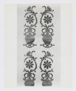 Sample book containing 21 patterns (in multiple colorways) including nine floral, seven geometric, one imitating tile, one panel, one shell pattern, one imitating drapery and one novelty employing tatoo designs. Also included is a black and white photograph showing each design in repeat. The titles include:  Ginger Jar, Edo, Ballet Russe, Cosmati, Tienda Merced, Andalusia, Meadow, Shells & Sand, Homestead, East India Co., Hellas, Shore Leave, Dowager Empress, Ambassador, Mirage II, Prize Hybrid, Razzmatazz, Crazy Key Large, Crazy Key Small, Carnations Small and Carnations Large.