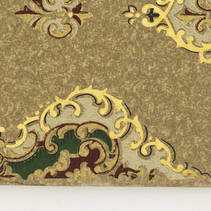Sample book contains mostly floral medallion papers in matched sets with several patterns available in mulitple colorways. Each set includes a sidewall, frieze and ceiling paper.