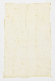 Panel of white cotton muslin embroidered in white with scattered leafy sprigs.