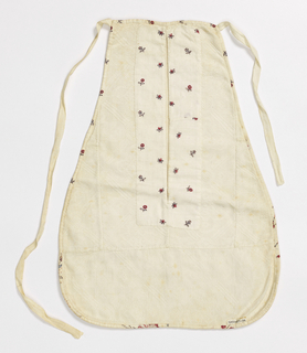 Women's pocket with an off-white linen back and off-white cotton face, with block-printed binding and area around pocket opening with small sprigs of red flowers. Cotton fabric is patterned with an all-over diaper pattern.
