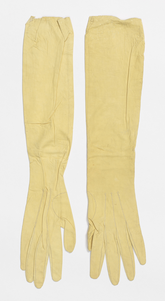 Women's elbow-length kid leather gloves in pale yellow
