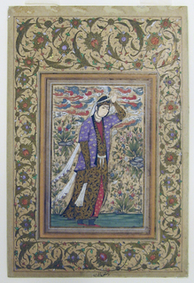 A woman with long veils is seen walking in a landscape and holding aloft a headband with her left thumb.  Stylized clouds.  Border with floral ornamentation.