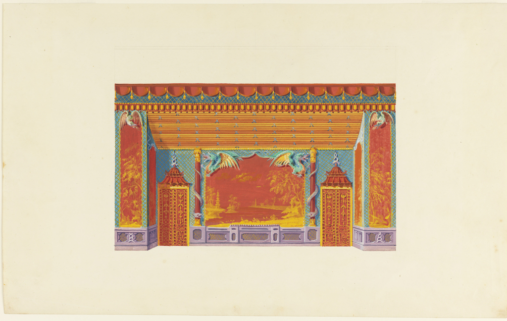 Elevation of the south wall, with the wall decoration composed of a large central panel of a seascape, with a pagoda and trees to left and right, terminated at top by winged dragons in low relief. The scene is flanked by painted columns entwined by serpents. Narrower sections of wall on either side contain painted panels of bamboo trees.