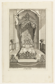 Plate 6. Design for bedroom and and a bed in the à la Duchess style. Headboard rectangular with a bi-laterally symmetrical carving of scrolls. Canopy adorned with plumes at corners. Grill work stands in foreground, left and right