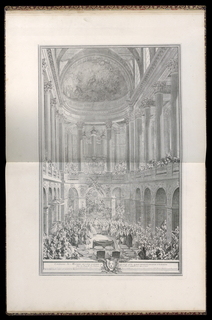 Interior view inside the chapel of the Palace of Versailles during the marriage ceremony of Louis Dauphin of France and Marie Thérèse of Spain. Highly decorated interior space with high ceilings and long drapery; two colonnaded levels, gallery, mezzanine, and painted domed ceiling. At all levels, large crowds of attending figures, both men and women in fine dress. The dauphin and his bride stand in center middle ground viewed from behind, a bishop officiating the ceremony stands behind them. Marie Thérèse wears a dress with a wide panier, Louis takes her hand. Behind them, in the foreground, two empty throne chairs before a table with kneeling cushions and open Bibles, the books indicating an earlier part of the ceremony. Additional cushioned stools surround at left and right.