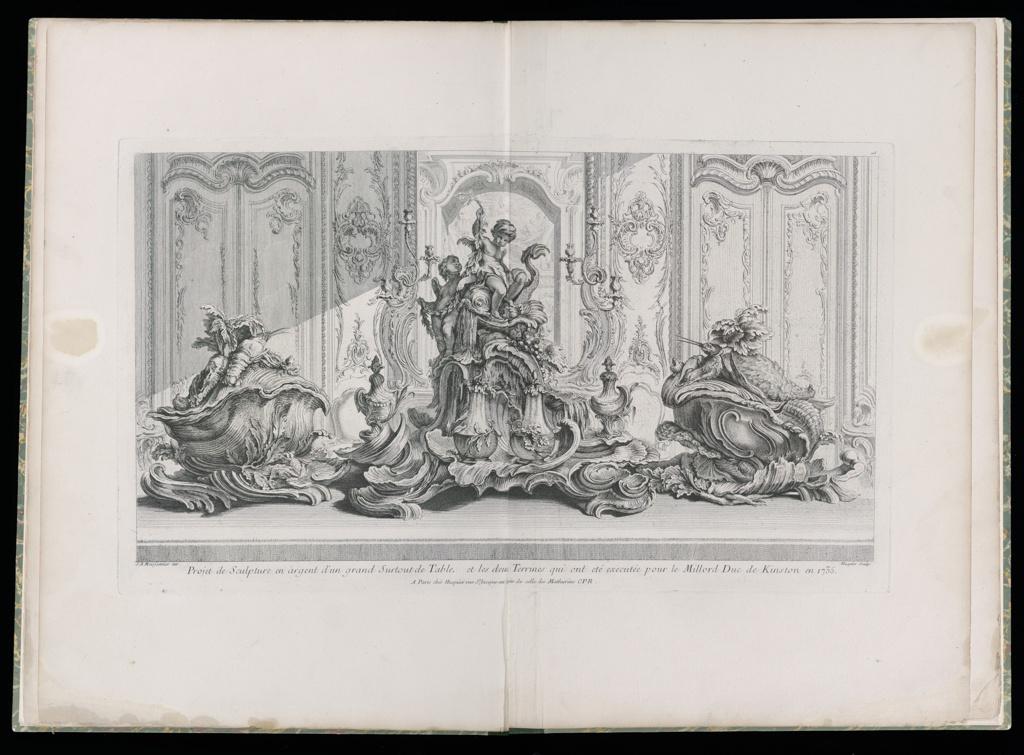 Print, Projet de Sculpture en Argent d'un Grand Surtout de Table et les Deux Terrines...Executée pour Millord Kinston (sic) en 1735 (Design for Centerpiece and Two Tureens for the Duke of Kingston in 1735) plate 115 in Œuvre de Juste-Aurèle Meissonnier
