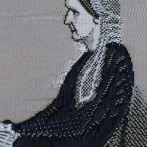 """Woven souvenir based on the painting 'Arrangement in Grey and Black: The Artist's Mother' (1871) by James McNeill Whistler (1834-1903). """"10"""" woven in the right edge. Dusty rose, two shades of brown, gray, white and black on white warp."""