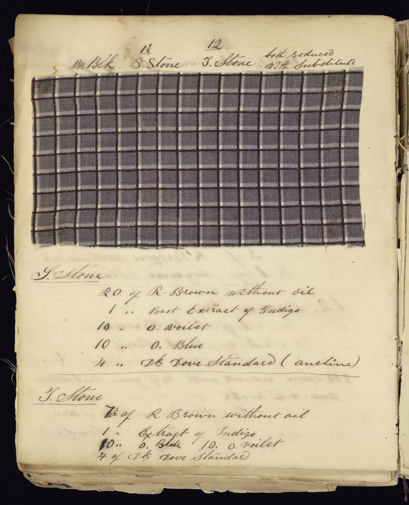 Notebook with handwritten formulas for dyestuffs to be used for printing textiles. Book contains 269 samples in various designs such as flowers, dots, stripes, squares, and circles.