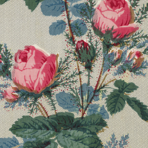 Ground broad fancy grey stripe, composed of minute dots. Flower design printed over ground; spray of pink moss roses with bright green foliage alternating with sprays of roses in shades of blue-glazed.