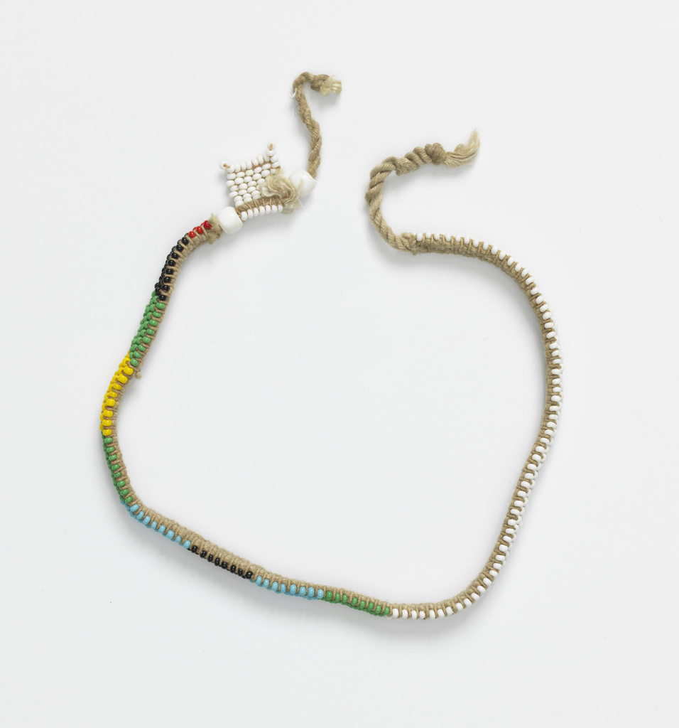 Group of tribal necklaces known as love letters. The various color combinations and designs convey messages connected with courtship.