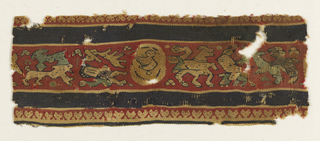 Border fragment divided into a series of horizontally running bands. Central band edged at top and bottom with a narrow dark blue band and a thinner band in red and natural linen in a repeating heart-shaped pattern. Center band patterned in multicolored designs of human figures and animal shapes against a red ground.