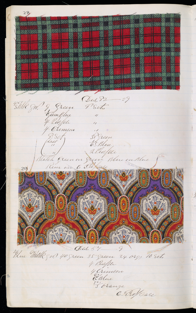 Printer's sample book with formulas for dyestuffs. Contains 114 samples in various designs including paisley.