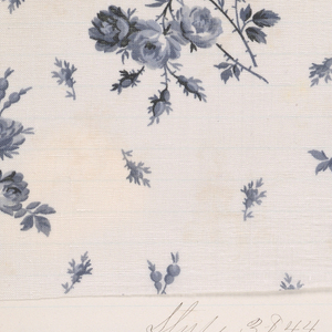 "Notebook with handwritten formulas for dyestuffs to be used for printing textiles.  Book contains 138 samples of cotton printed textiles.  Label on cover reads:  ""LAWNS JAN. / 84""."