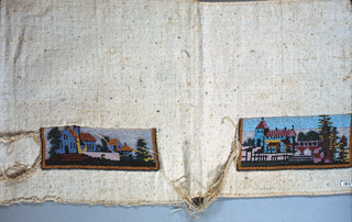 Fragment of cloth with two panels showing landscapes worked in colored beads.