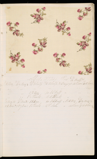 """Notebook with handwritten formulas for dyestuffs to be used for printing textiles.  Book contains 138 samples of cotton printed textiles.  Label on cover reads:  """"LAWNS JAN. / 84""""."""