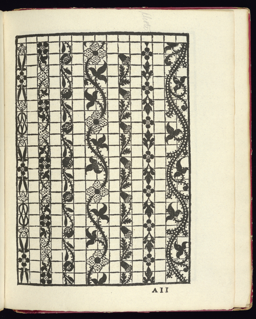 "1884 facsimile the lace pattern book ""La gloria et l'honore de ponti tagliati, e ponti in aere,"" by Matheo Pagano, 1558."