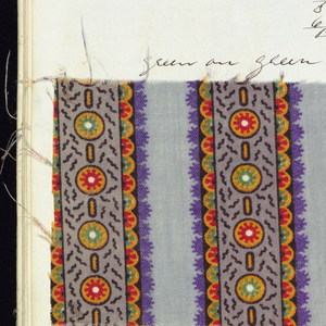 Notebook with handwritten formulas for dyestuffs to be used for printing textiles.  Book contains 236 samples in various designs and brilliant colors.