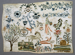 Detached motifs including floral borders, flowering sprays, trees, animals, birds and a house. Maker's name unreadable.