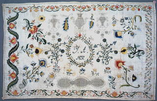 """Rectangular sampler with a central wreath enclosing text that reads """"Y. A. 1837"""".  Embroidered flowers and drawnwork designs fill the remaining area. Different patterns of floral garlands are worked along the four edges."""
