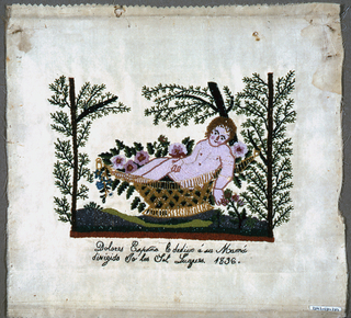 """Moses in the Bulrushes.  Inscription in back stitch (?) reads """"Dolores Espoña dedicates this to her mother, made at  the direction of...."""""""