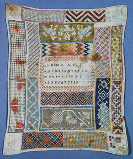 Central panel with name, alphabet and numerals in cross stitch; surrounded by borders in drawnwork of geometric patterns.  Birds and lamb in each corner and a flower motif worked in satin stitch.