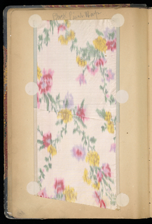 Notebook with dark leather corners and back, with board covers covered with polychrome marbled paper, and plain pages on which are pasted 94 wide ribbon samples in polychrome and white silk, and one section of coarse cotton cloth printed with roses. Samples include chine, satin stripes, satin printed, fancy cloth, ribbed cloth, printed cotton.