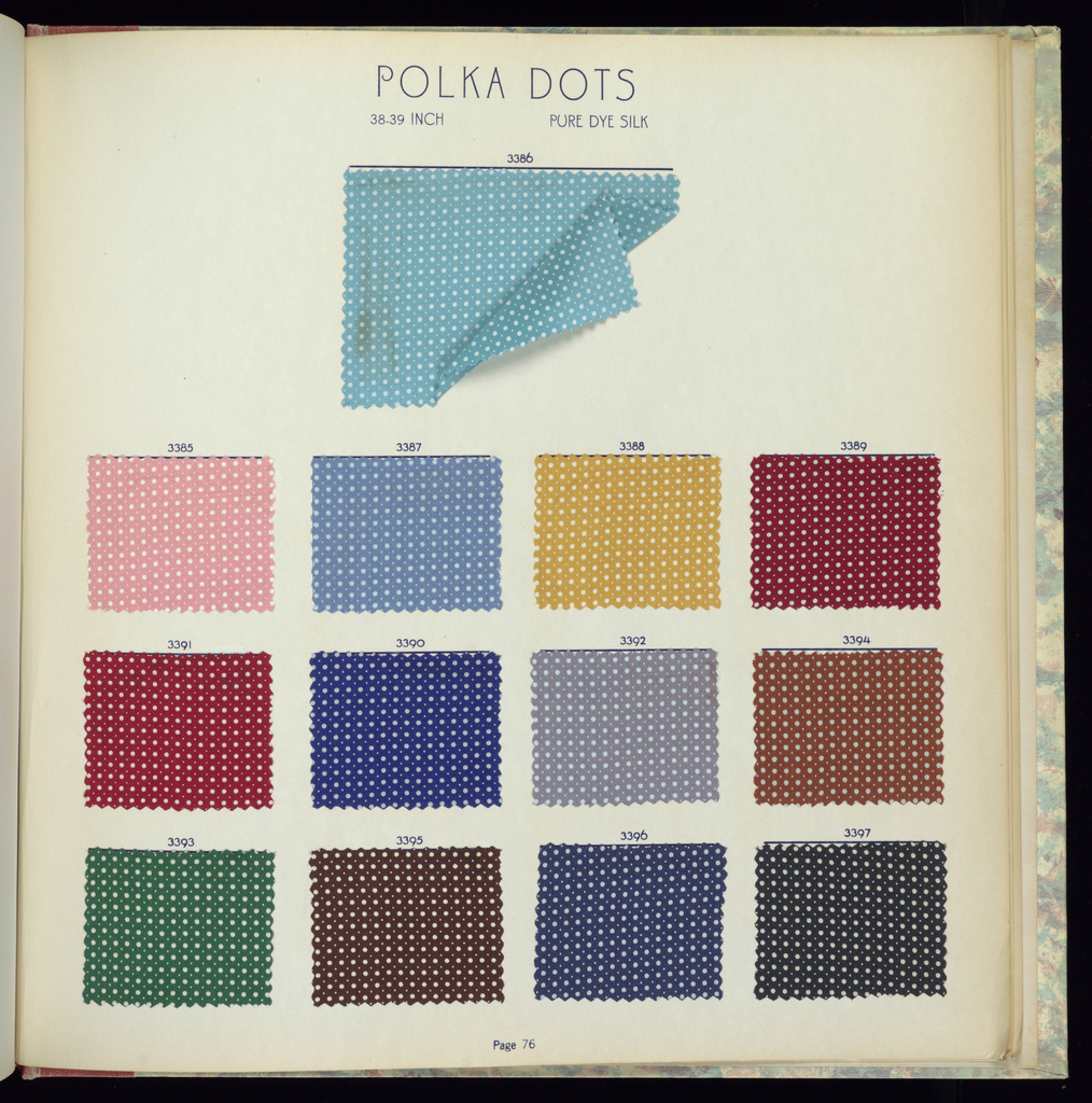 Sample book covered with cloth having marbelized print and terra-cotta back binding and label with black letters: Imported Prints. Spring and Summer 1939. Contains 376 samples of silk prints: 267 flat crepes, 16 crinkle crepes, 15 twills, 14 novelties, 30 plain chiffons, 28 novelty chiffons; rayon prints – 4 novelties; woven fabrics – 2 rayon jerseys.