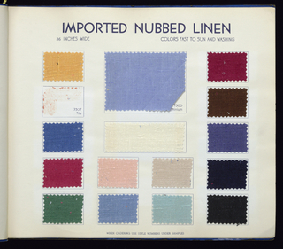 Sample book in blue paper binding with yellow label: Maxine Fabrics, Co. Inc. Finsilver – Koslin. Imported Linens, Novelty Cottons Summer of 1939. Contains 202 samples: 139 linens, 8 printed linens, 6 synthetic printed linens, 20 printed printed cottons, 7 cotton shirtings, 6 novelty cottons; 10 cotton gingham, and 6 cotton piqués.