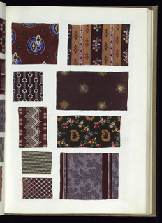 Sample book with a marble printed cover and a green suede back strip containing samples of printed cotton textiles in various colors which are pasted on paper sheets.