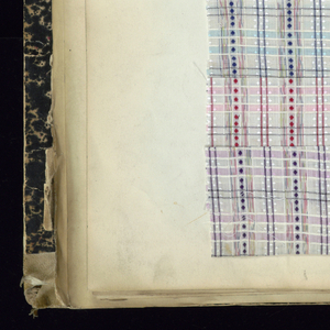 "Printed text on spine: ""1904-1905-06 TOILE SOIE"" Printed text on front cover: ""FABRIQUE DE REGISTRES TOILE SOIE 1904-1905-1906 C&P P.G.V.F.&C.""  One tab page, with handwritten text: ""Toile guipure."" Affixed label on inside front cover text: "" P.G.V.F. & Cie No. 6117 Rappeler ce numéro pour avoir un registersemblable"".    Each sample has handwritten text above it designating style and number.  Samples are affixed to the page with adhered gold paper strips, embossed with Greek key pattern."
