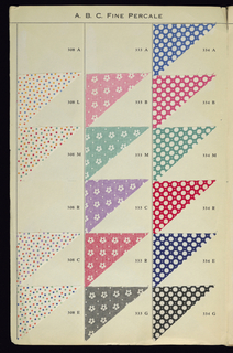 Sample book with pasted textile swatches of fine percales, showing the 1930s Spring Line of ABC Fabrics.
