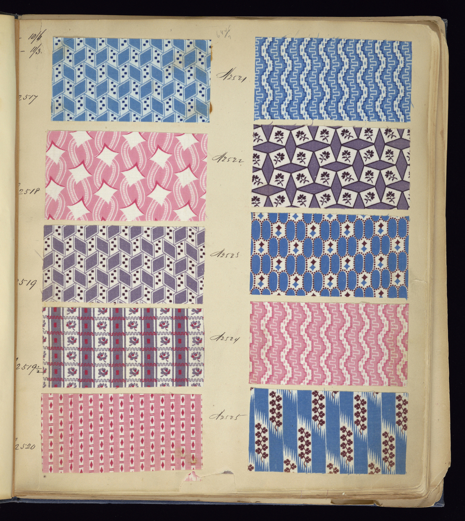 """Blue cloth bound volume of 574 numbered samples of printed cottons. Title page has three book plates. Book title: """"Cotton Prints Samples."""" Largely small patterns of plaids, florals and stripes of many colors."""