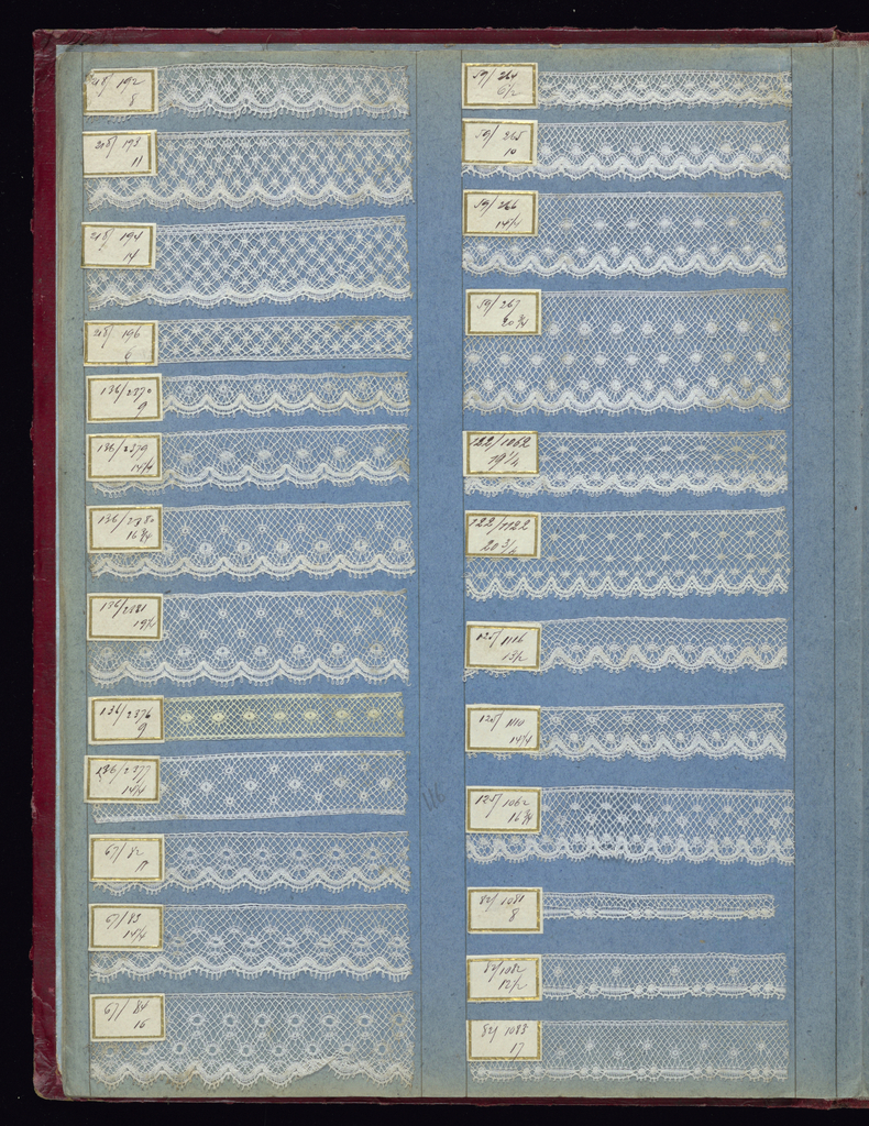 Variety of width of machine-made lace bands attached to the blue pages of the book, each with a paper label giving manufacturer's number. Some of the tapes on the last page used for the pre-made tape lace technique.