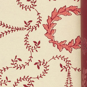 Catalog of machine-printed papers, some with embossing. Many designs contain metallic pigments in a variety of colors. All the samples are showing matched sets of sidewall, frieze and ceiling paeprs with multiple colorways of many of the patterns.
