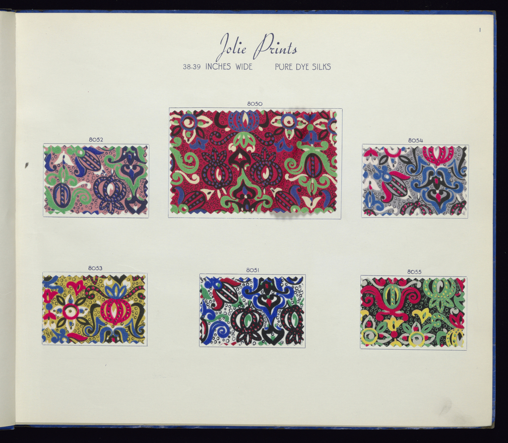 Sample book in blue paper binding with a yellow label: Maxine Fabrics Co. Inc. Finsilver – Koslin Silks, Novelties, Prints. Spring and Summer 1939. Contains 162 samples pasted to paper pages; 91 printed silks, 17 novelty silks, 45 synthetics, 9 rayon and linen.