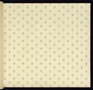 Large selection of machine printed papers with matching narrow borders. Many designs include metallic pigments. Ceiling papers are included in the front of the book. One sample of children's paper.
