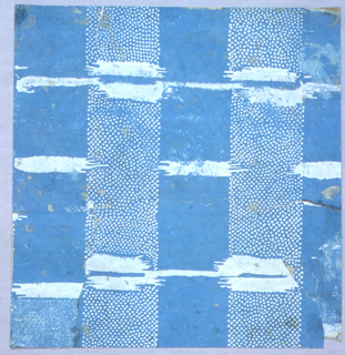 Square composed of stripes of blue and stippled white on blue, with transverse blobs of white in imitation of the effect of a warp print.