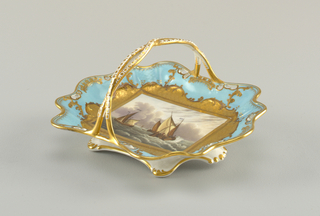 Shallow, pale blue dish, roughly rectangular with wavy, pierced edges and twisted, c-shaped handle in center; each dish resting on six feet.  A different, detailed marine painting surrounded by heavy gilding on each dish.