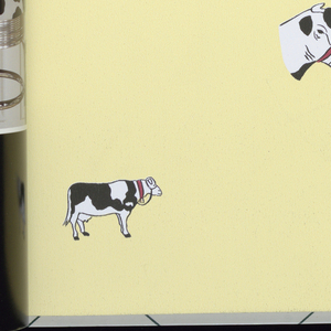 A retrospective of 1940s and 1950s vintage wallcoverings including kitchen appliances, cows, leopard skin and cowhide.
