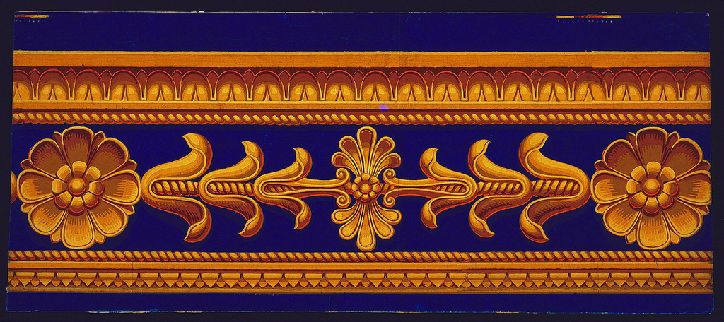 Architectural frieze in simulated relief or ormolu, with leaf-and-tongue and cable moldings above lotus rosettes and budding lotus shoots. Below, printed separately and applied, cable molding and cyma reversa. Horizontal rectangle.