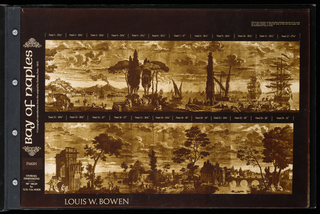 """The designs depict panoramas and perspectives.  Each is a miniature of the full-scale scenic mural.  Each is printed in sepia tones.  The cover image is a detail from """"Bay of Naples"""". The scenes include: """"Bay of Naples"""", """"Venetian Scenes"""", """"La Reggia"""", """"Paris 1830"""", """"Piemontese"""", """"The Emperor's Horses"""", """"Monte Capitolino"""", """"The Grand Canal"""", """"The Roman Forum"""", """"Rotunda"""" and """"Italian Street Scene""""."""