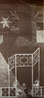 """The left panel from a set of two panels. A courtyard fantasy. Around a trellised gate children play guitars and other musical instruments. A pavement and wall stretch away at back. Fantastic kites hover above the ground. Printed in the """"Blue Print"""" or luxograph method on brown ground."""