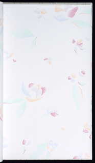 Book contains 20 different designs including florals, simulated marble, figural and geometric. Each pattern is shown in multiple colorways. Most are printed in pastel shades.