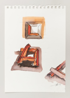 Page from sketchbook with three design drawings for geometric square brooch. At top, plan view of orange and gray concentric squares, unfinished. At center, perspectival view of brooch design with pyramidal elements extending beyond the square frame and overlapping the top of the design at an angle. At lower right, detail of overlapping elements.