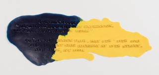 Flat, amorphous poured resin form in blue and yellow, with raised lettering giving invitation details to a Pesce show.